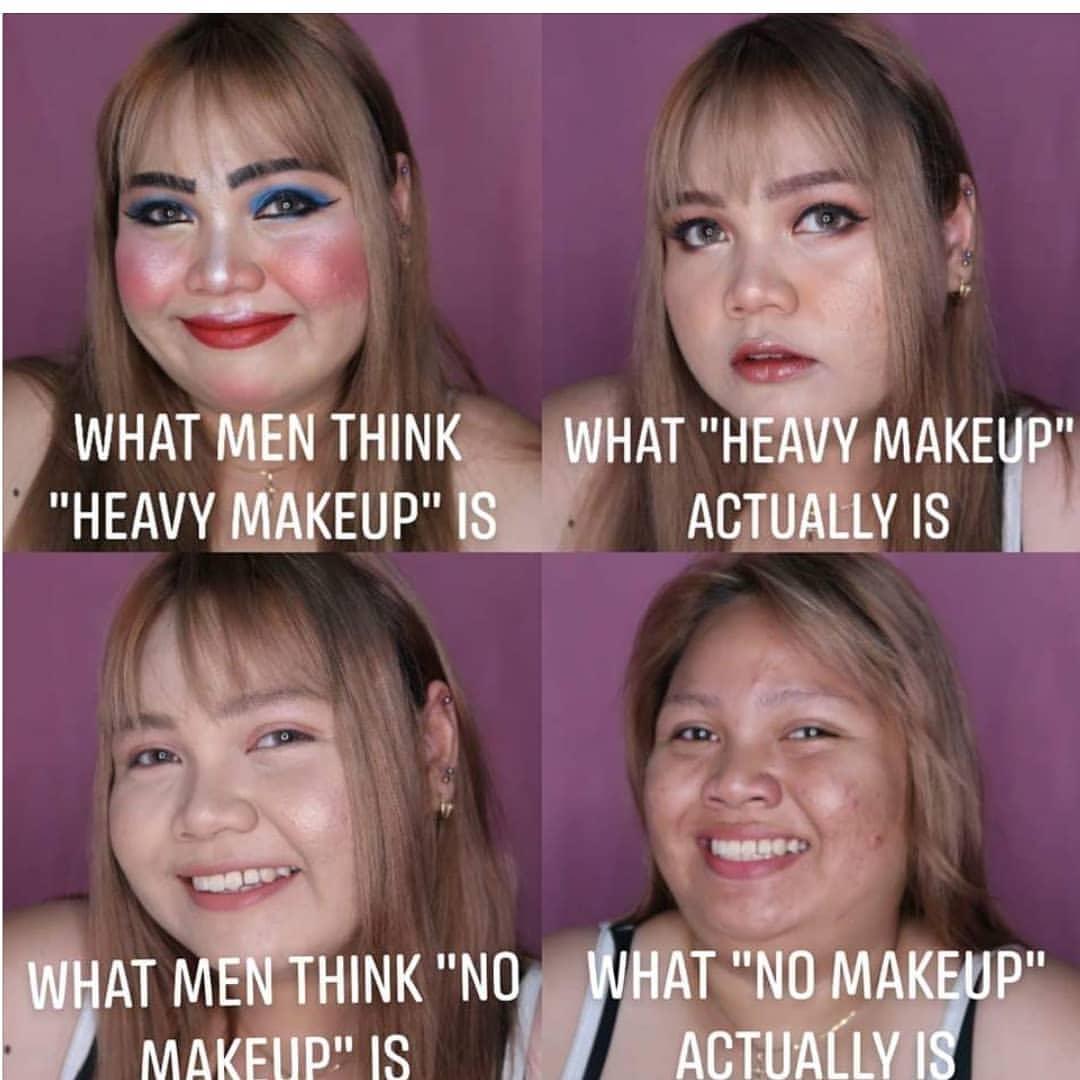 What Men think heavy makeup is meme