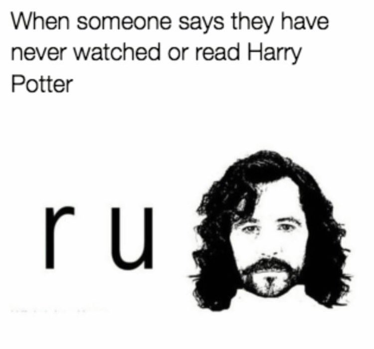 Image result for never reading harry potter meme