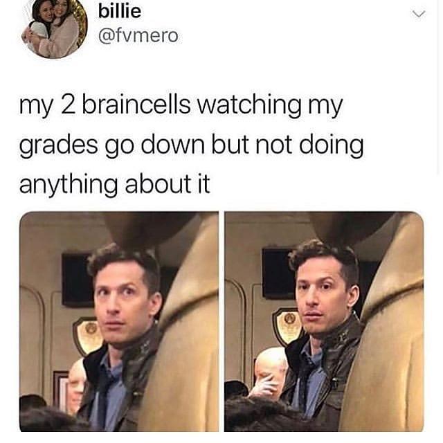 My 2 Brain Cells Watching My Grades Go Down Meme Ahseeit
