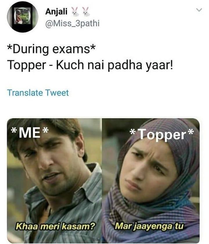 During Exams Topper Vs Me Meme Hindi Memes