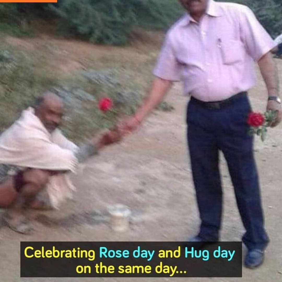 Celebrating Rose Day And Hug Day On The Same Day Meme Hindi Memes