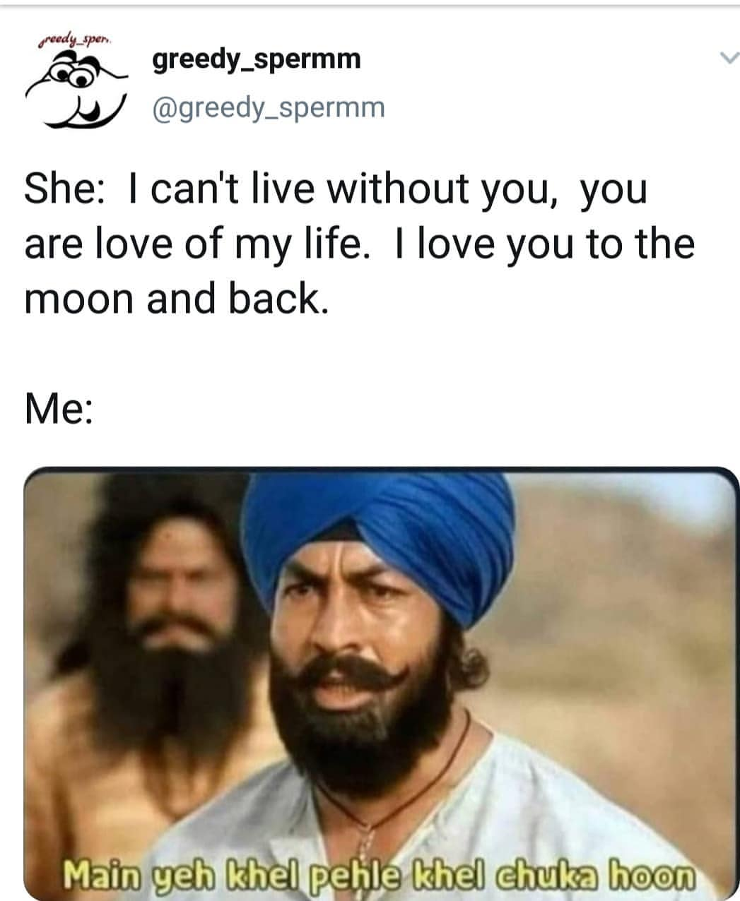 She I can't live without you you are love of my life meme - Hindi Memes