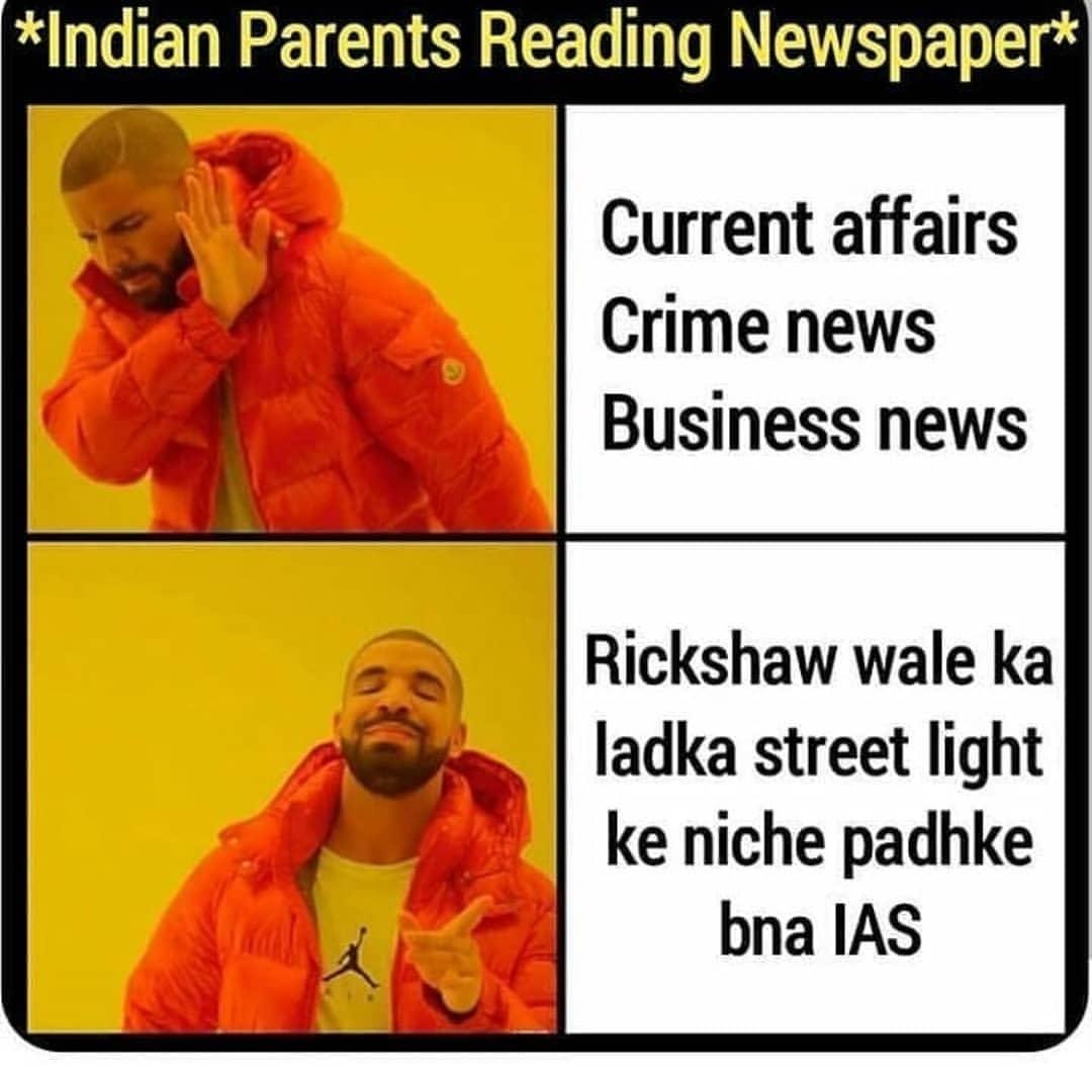 Indian Parents reading Newspaper meme
