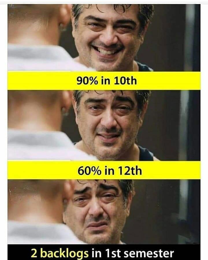 2 Backlogs In 1st Semester Meme Hindi Memes