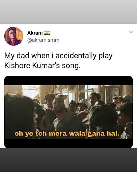 My Dad When I Accidentally Play Kishor Kumar S Song Meme Hindi Memes 1.hindi song 2.bollywood song 3.memes 4.bollywood vs hollywood 5.dj song 6.dark india memes 7.bollywood funny bollywood song mix meme in hindi indian made must watch dont forgot to watch. my dad when i accidentally play kishor