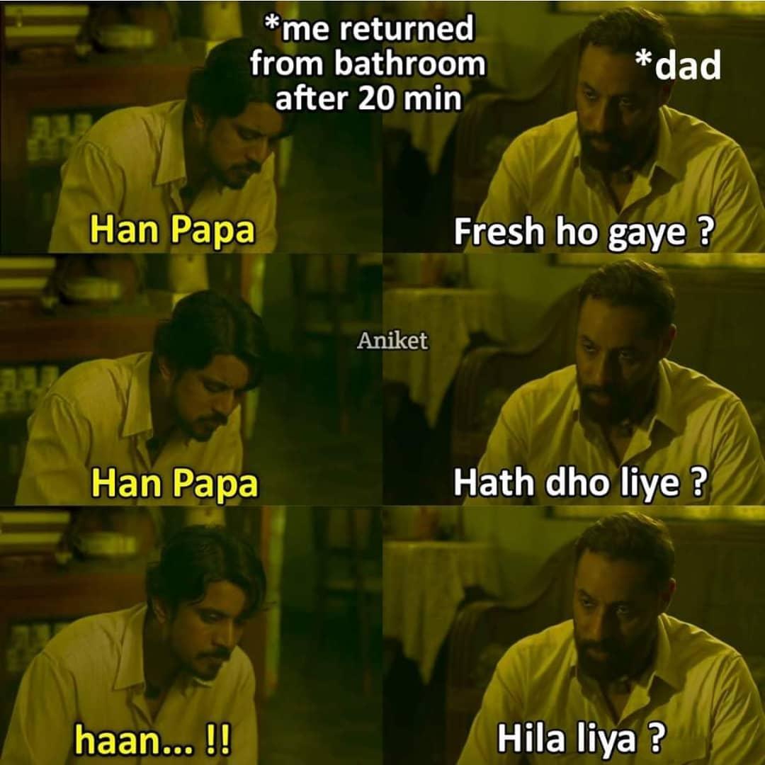Me Returned From Bathroom After 20 Min Meme Hindi Memes