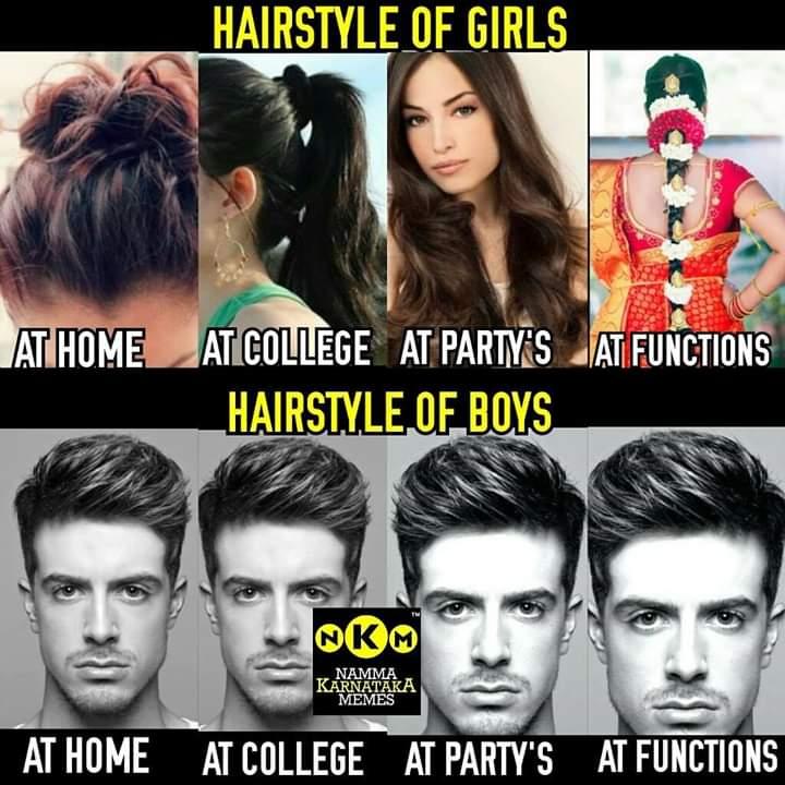 Hairstyles Of Girls Vs Boys Be Like Meme Kannada Memes
