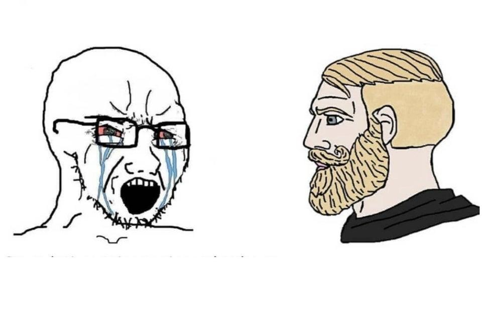 Chad vs Crying Guy blank template - Meme Templates