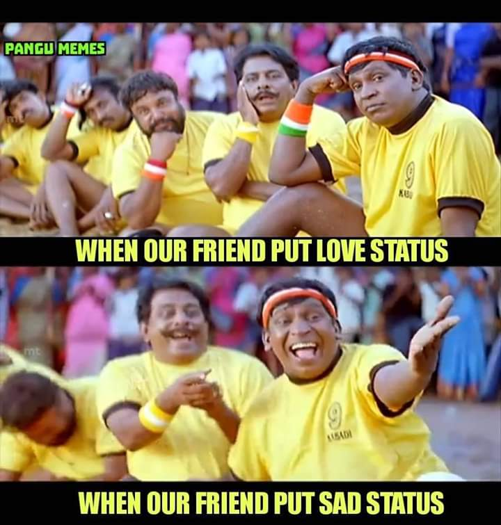 Love status vs sad status meme Tamil - Tamil Memes