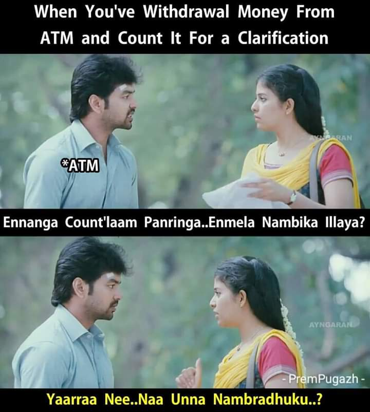 Withdrawal Money From Atm And Count It For A Clarification Meme