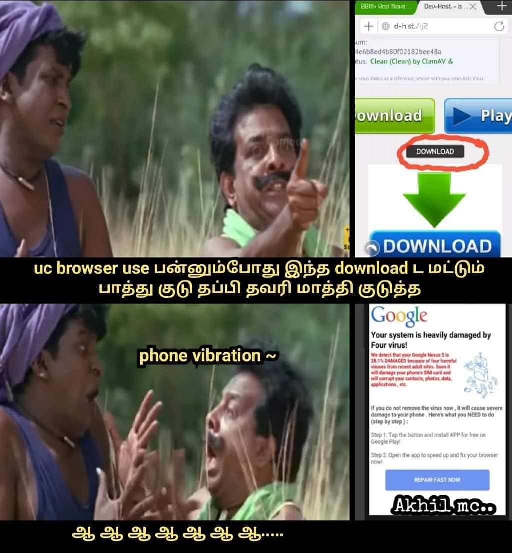 Uc browser fake download system meme - Tamil Memes