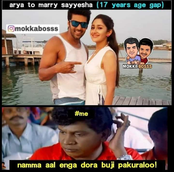 Actor Arya to marry Sayyeshaa 17 years age gap meme - Tamil