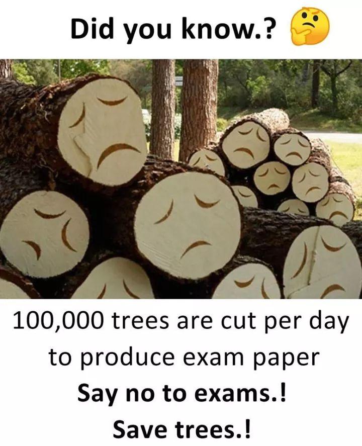 Say no to exams save the trees meme - Tamil Memes