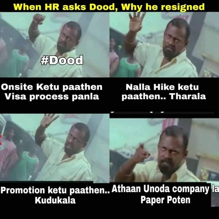When hr ask why you resigned dood reply be like meme - Tamil