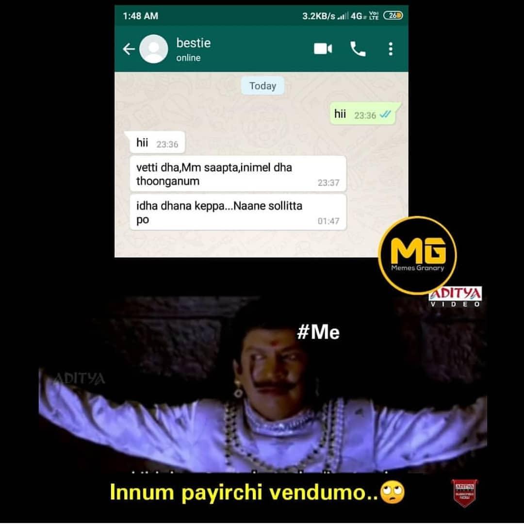 90s kids WhatsApp chat with girl bestie be like meme - Tamil