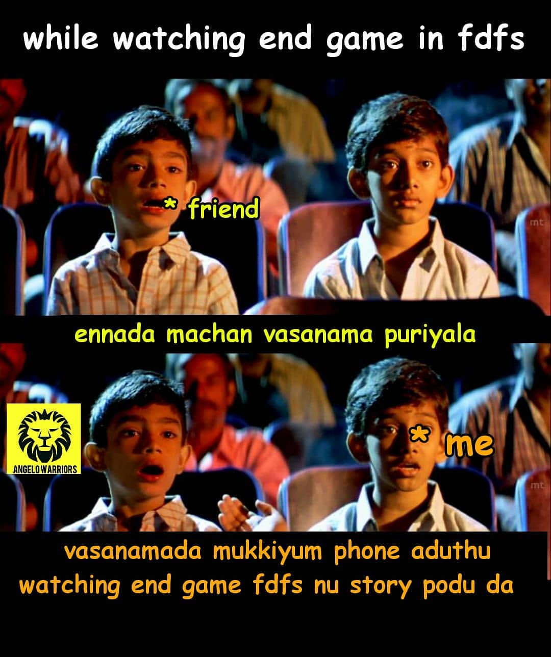 While Watching Avengers Endgame Movie Fdfs Show Be Like Meme Tamil