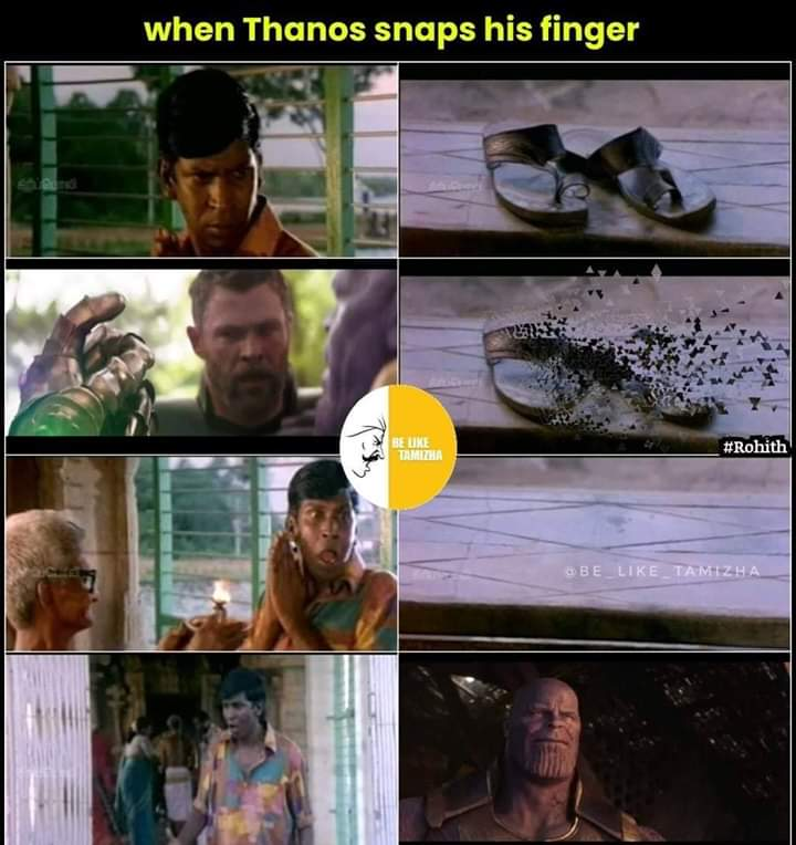 When Thanos Snaps His Finger Sothanaigal Meme Tamil Memes