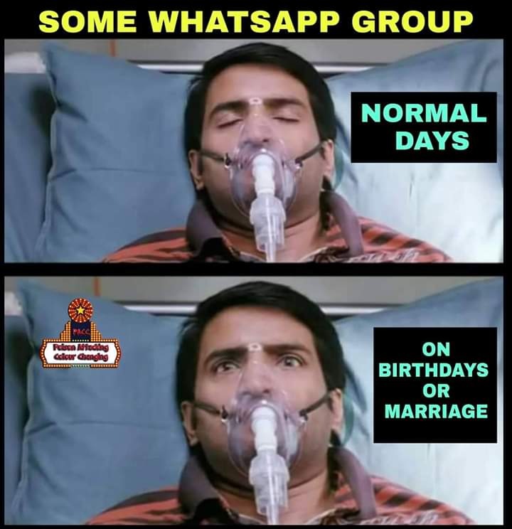 Some whatsapp group normal days vs birthday and marriage day be like